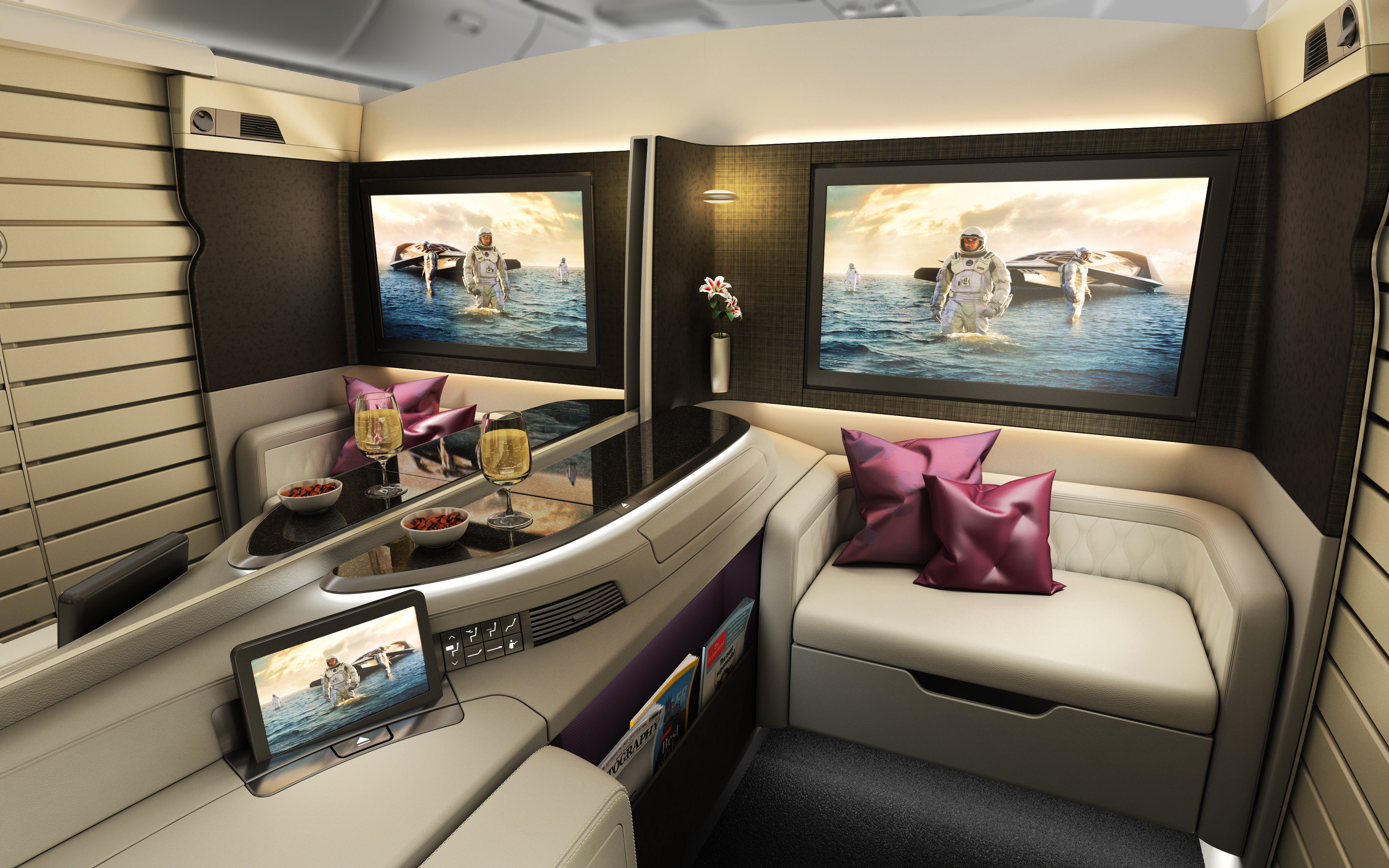 Super First Class Suite with privacy screen down