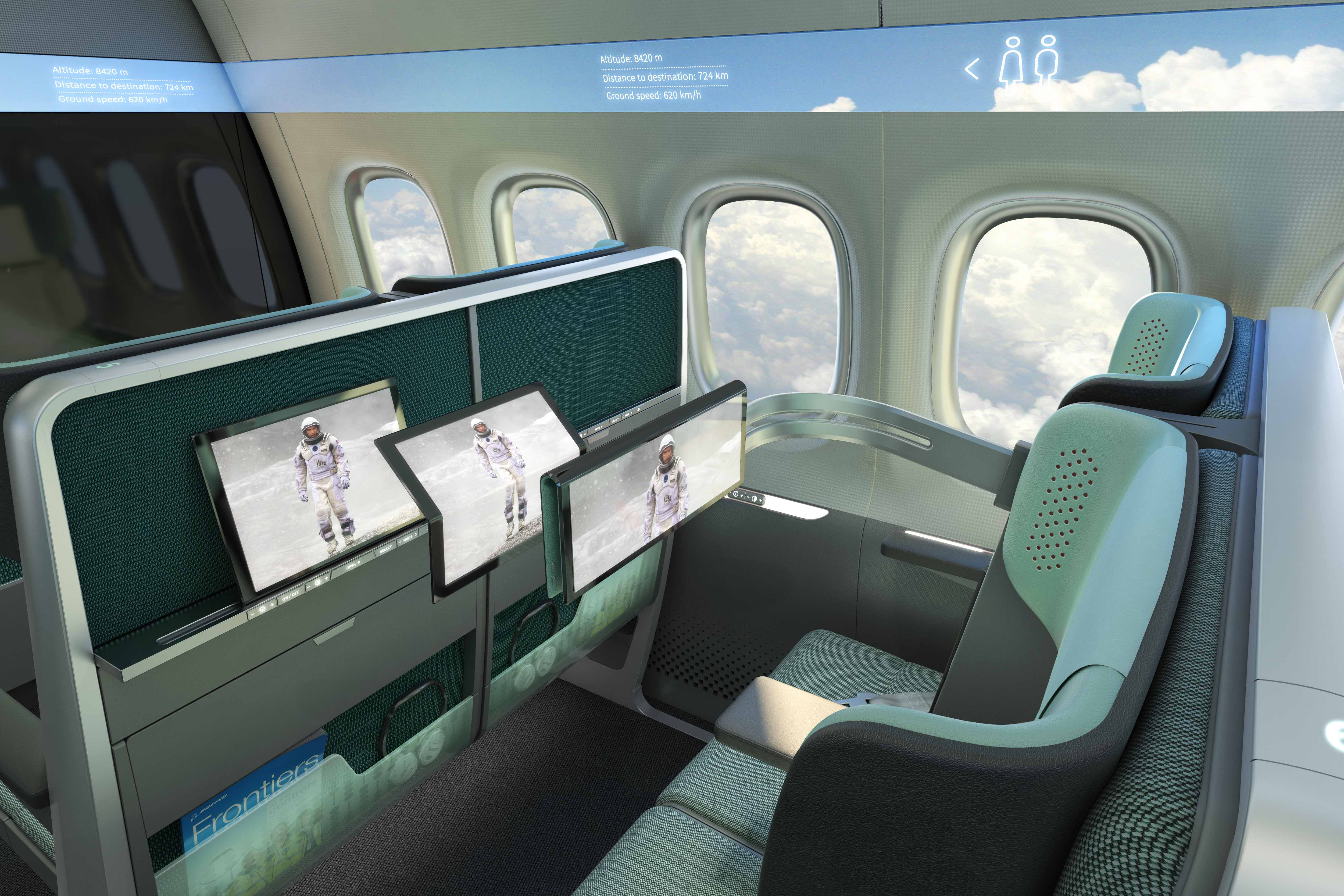 Airline Futures Concept showing Tablet folding to half size