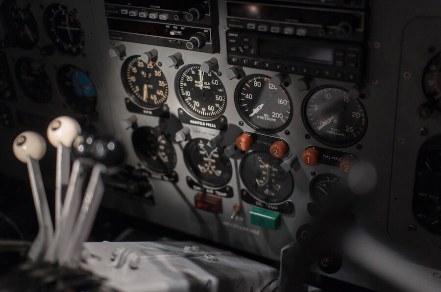 Instruments in a cockpit