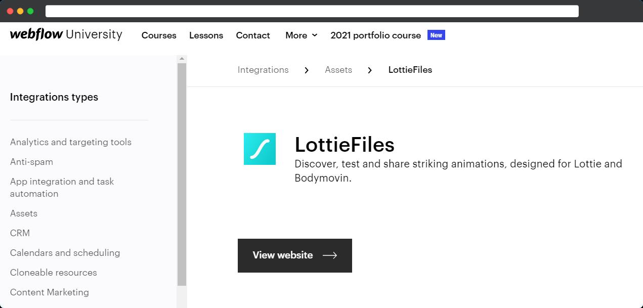 LottieFiles on Webflow university