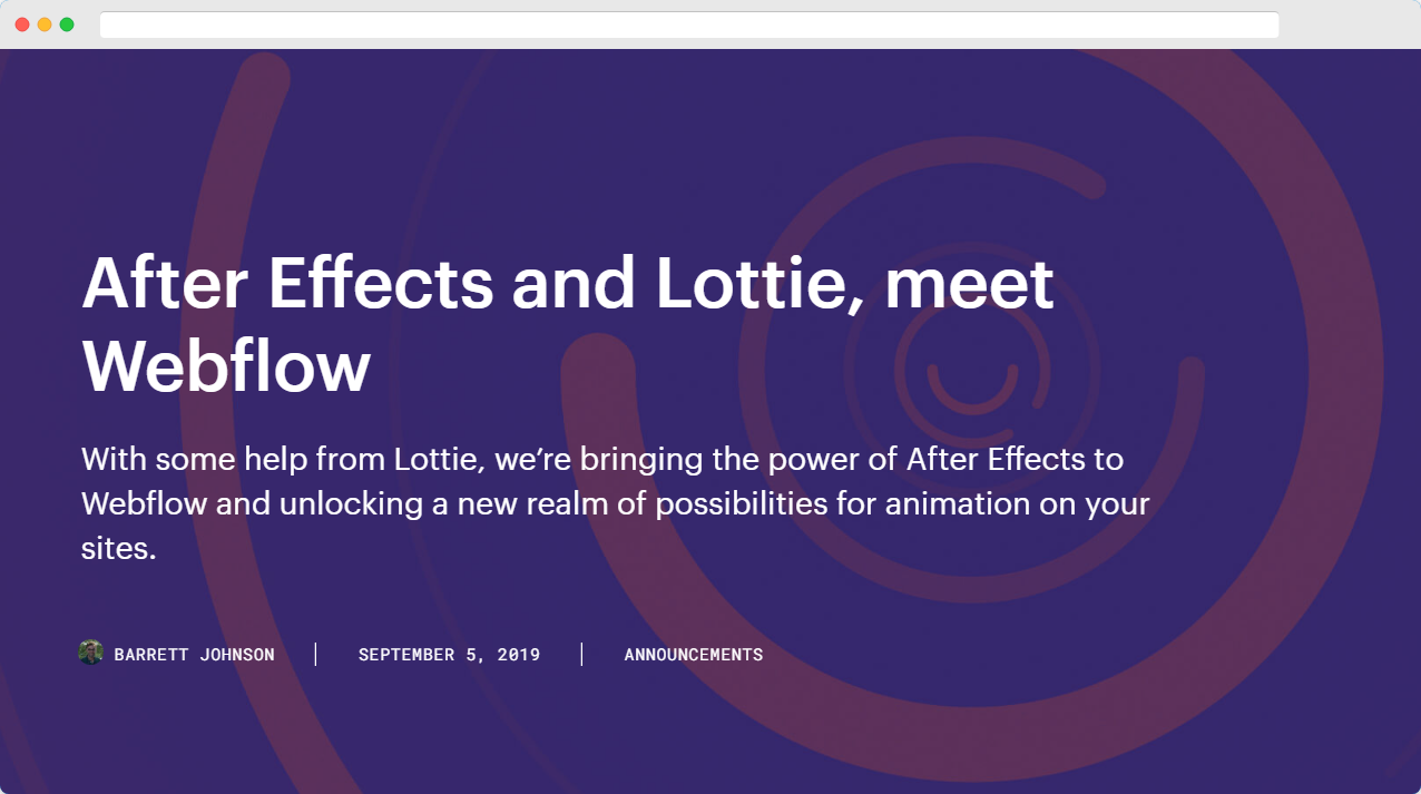 After effects and Lottie on Webflow