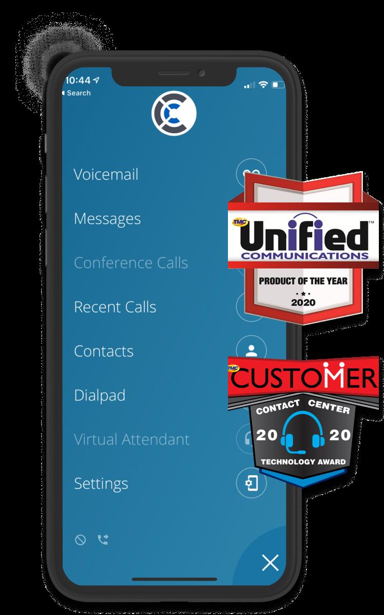 Phone showing two UCaaS awards