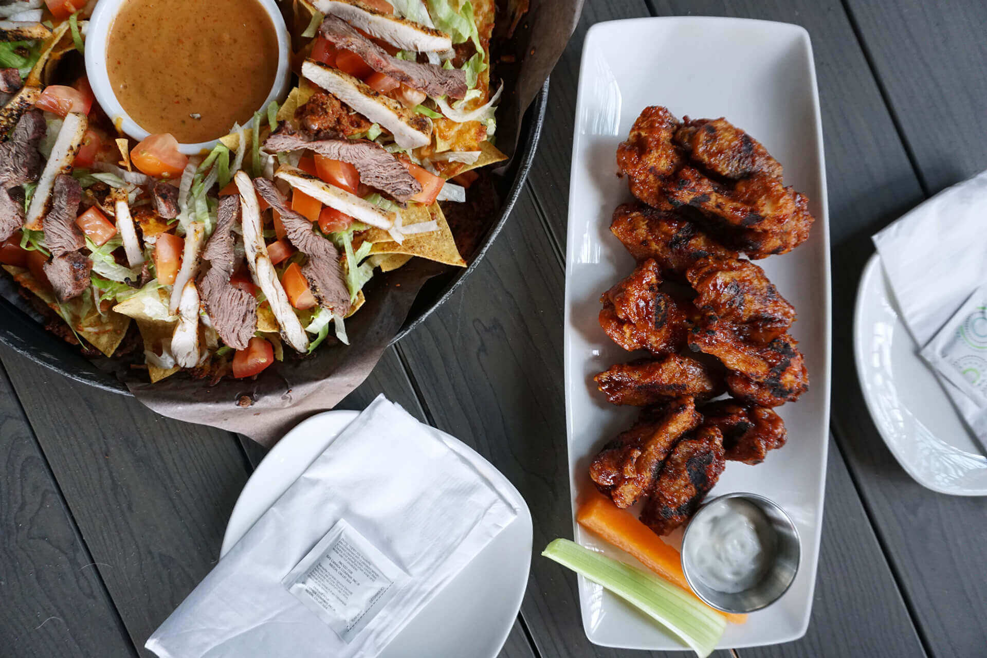 Left: Macho Nachos, Right: Grilled Wings