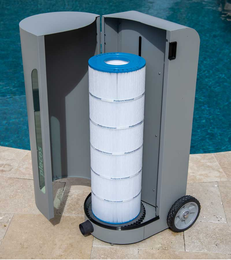 A front facing shot of CleanSweep product with pool cartridge filter placed inside unit.