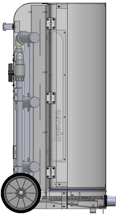 A CAD drawing showing the side of the CleanSweep platform design.
