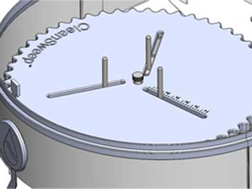 A CAD drawing showing the SpinJet platform and stabilizing pins.