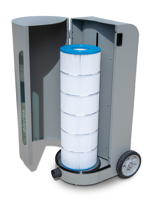 A front facing CleanSweep product shot with a cartridge filter placed in side the unit.
