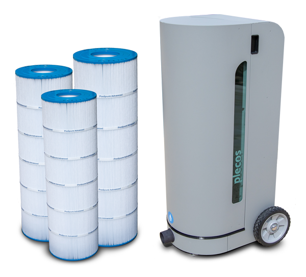 A front facing CleanSweep product shot displayed next to three different size cartridge filters.