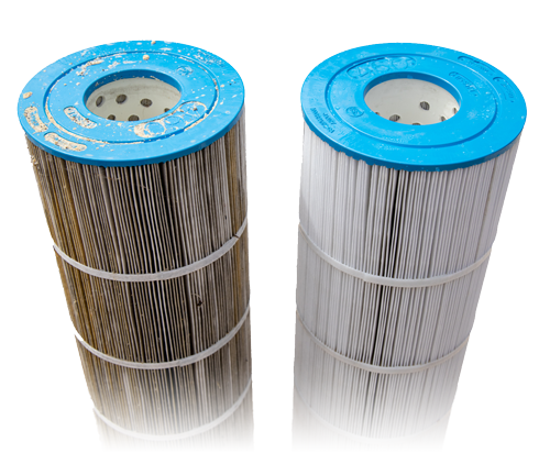 A dirty and clean cartridge filter placed side by side.