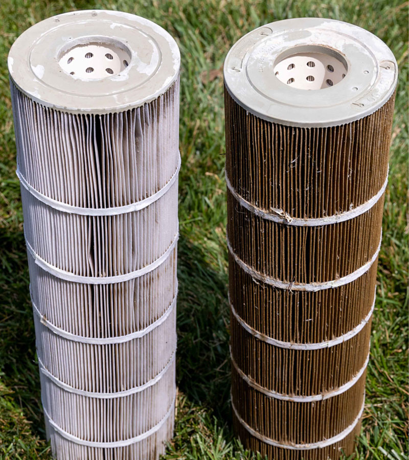 A photograph showing two cartridge filters side by side, one cleaned with PreSweep cleaner and the other dirty.