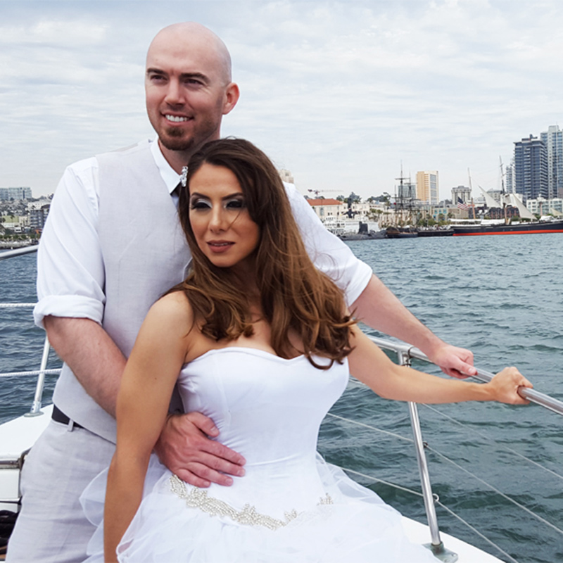 Wedding couple on Bella Luna Yacht in San Diego