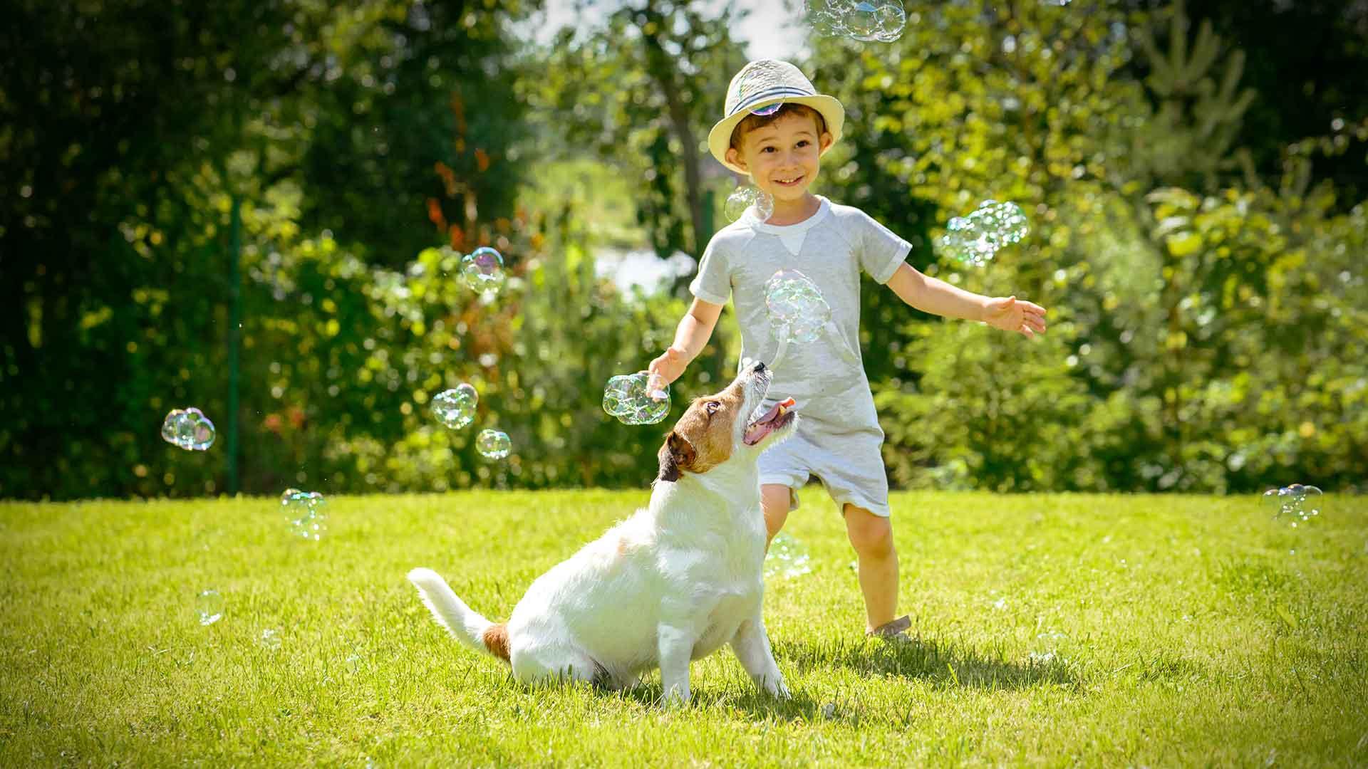 Kind spielt mit Tier im Garten