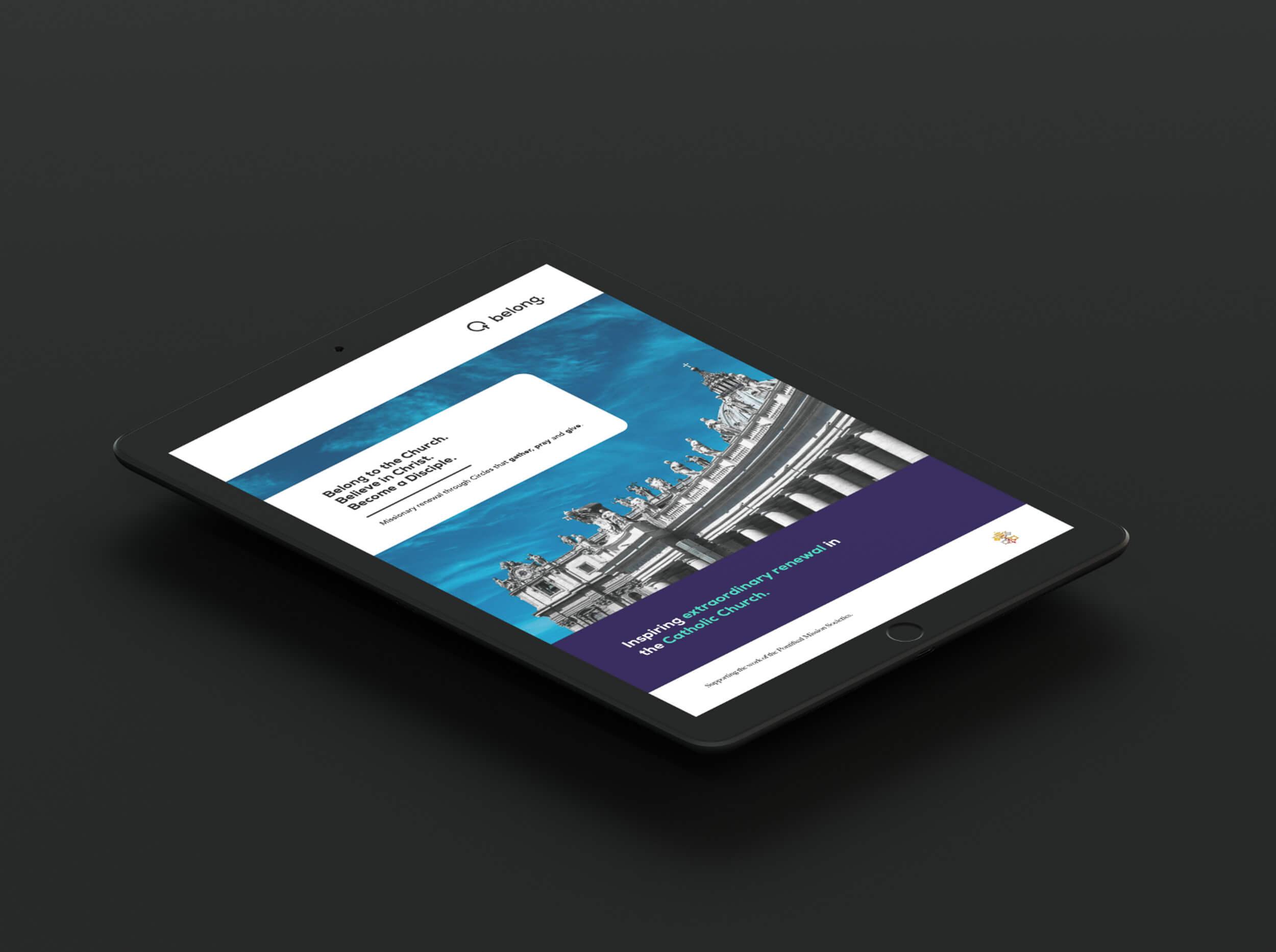 Belong Circles website on tablet