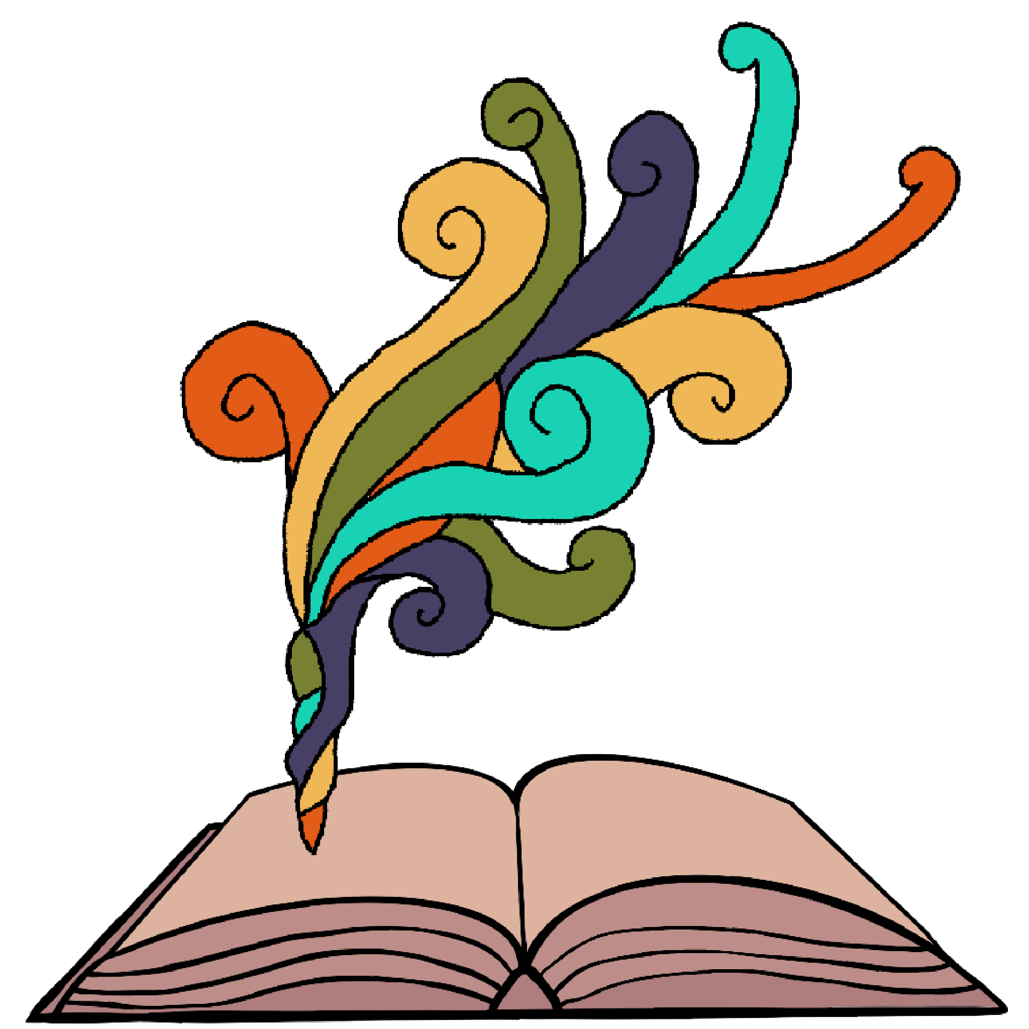 A color illustration of an open book with a muted rainbow of swirls coming out of a page.