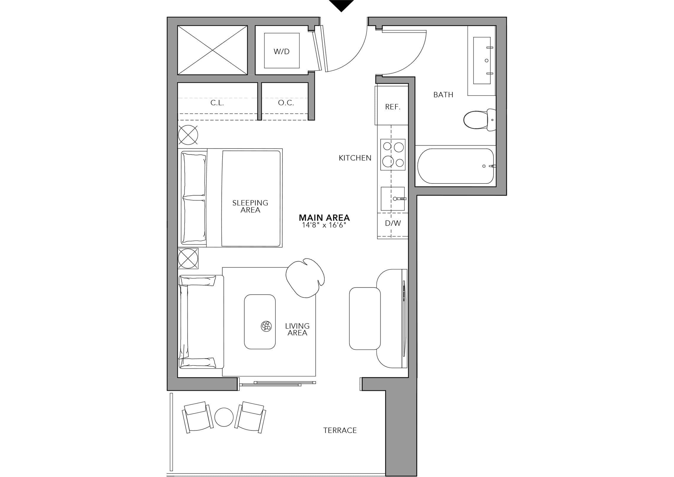 Type 12 Studio (Floor 24-47)