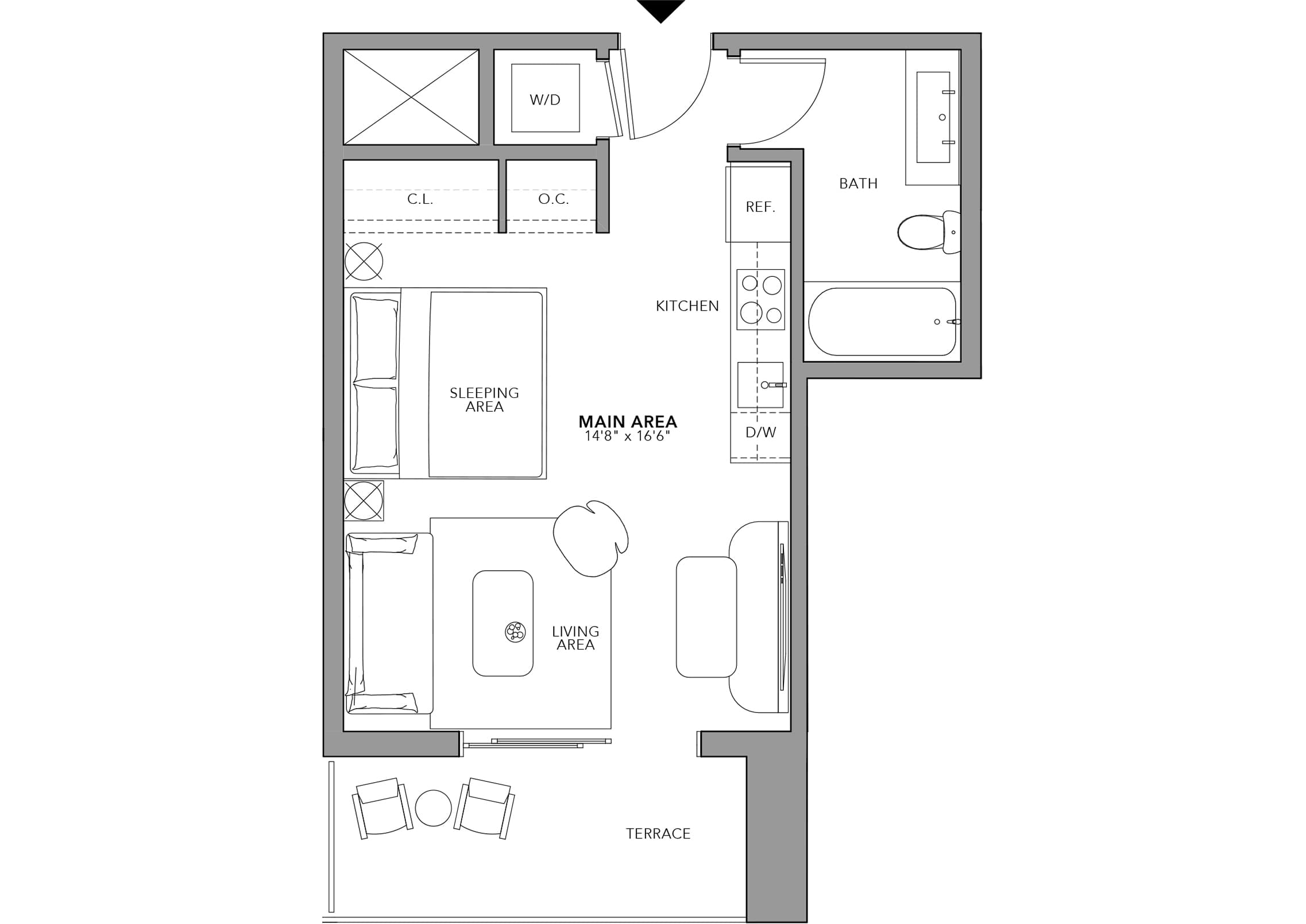 Type 6 Studio (Floor 24-47)