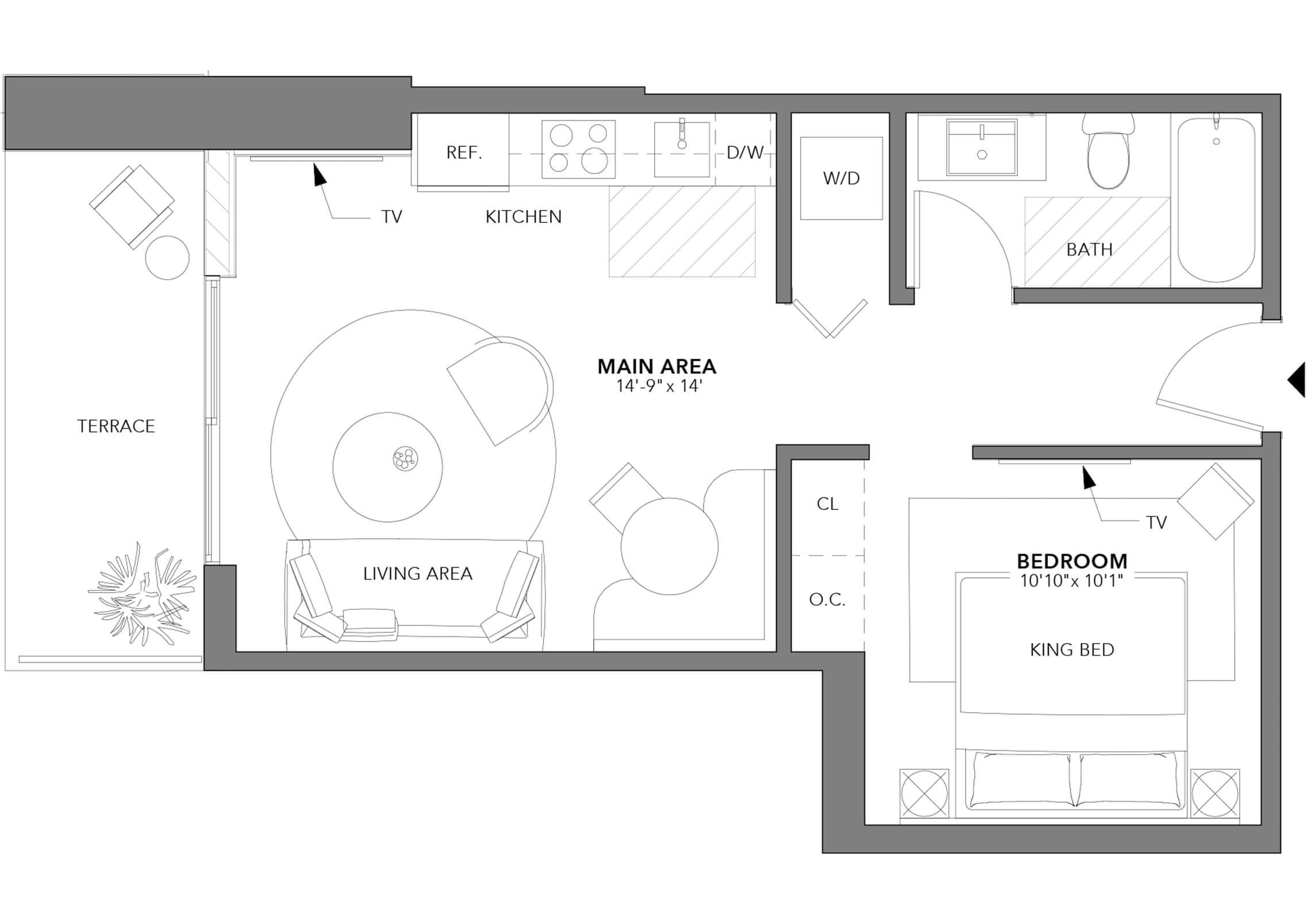 Type 3 Studio (Floor 24-47)