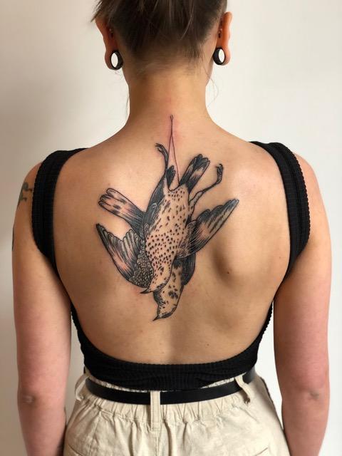 Florian Hirnhack Back Tattoo of Hanging Birds