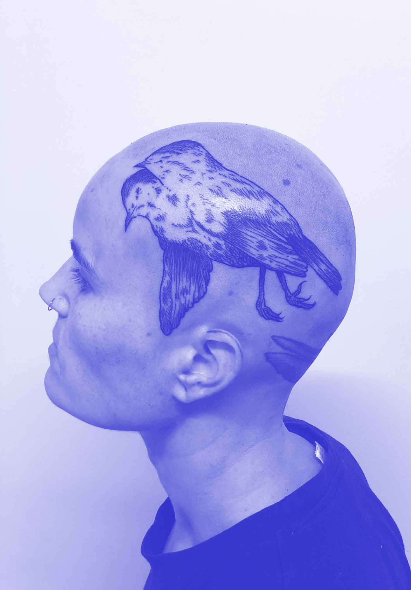 Florian Hirnhack Bird with Two Heads Head Tattoo