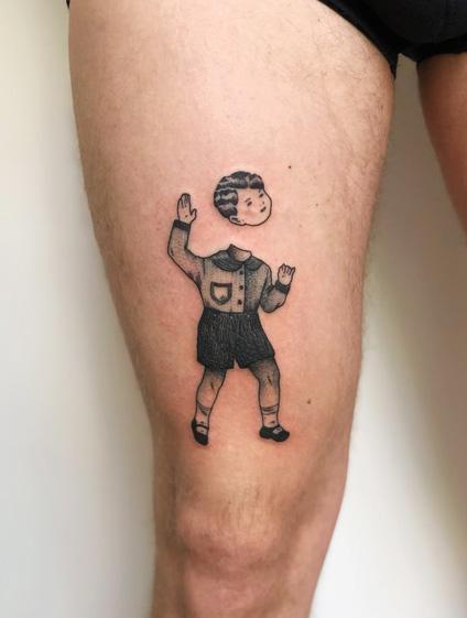 Florian Hirnhack Child Lost Head Leg Tattoo