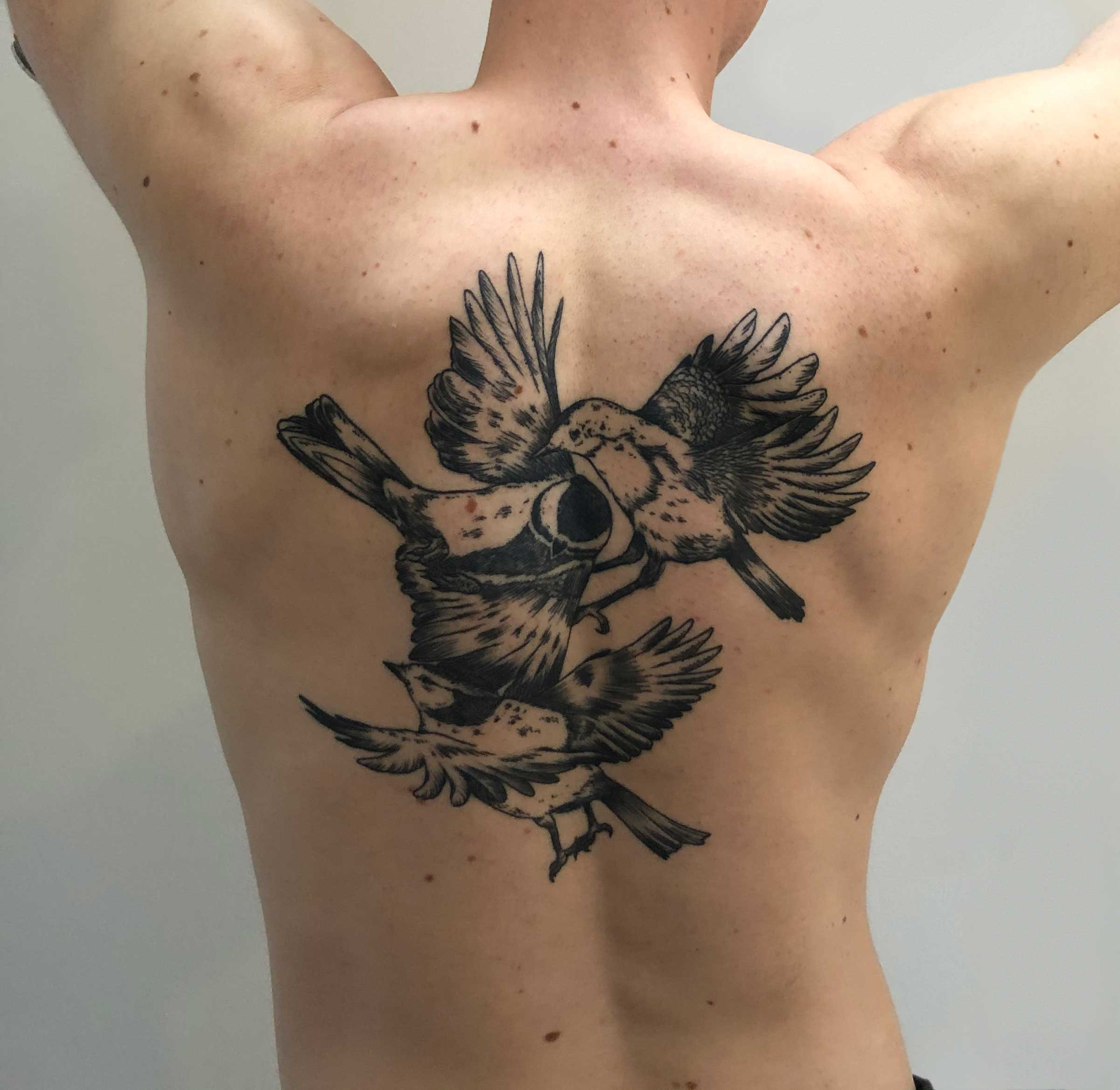Florian Hirnhack Back Tattoo of Three Birds