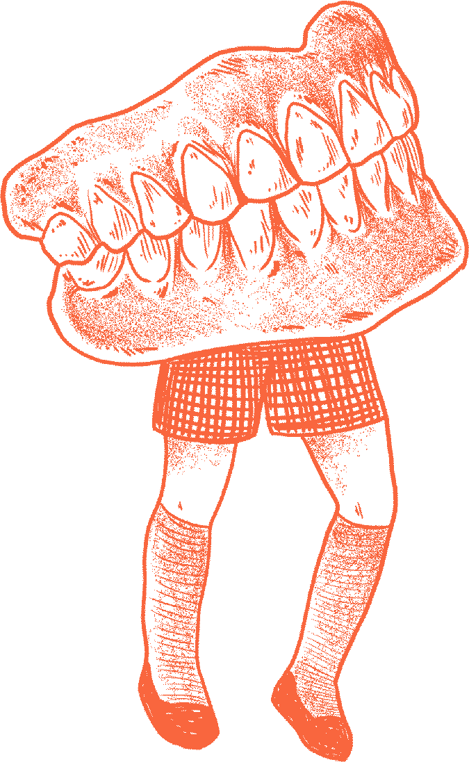 Florian Hirnhack Drawing of Teeth with Legs