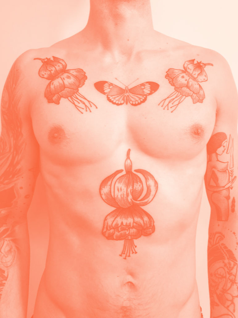 Florian Hirnhack Floral and Butterfly Chest Piece Tattoo