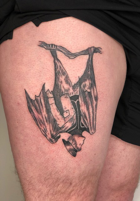 Florian Hirnhack Thigh Tattoo of a Man Bat