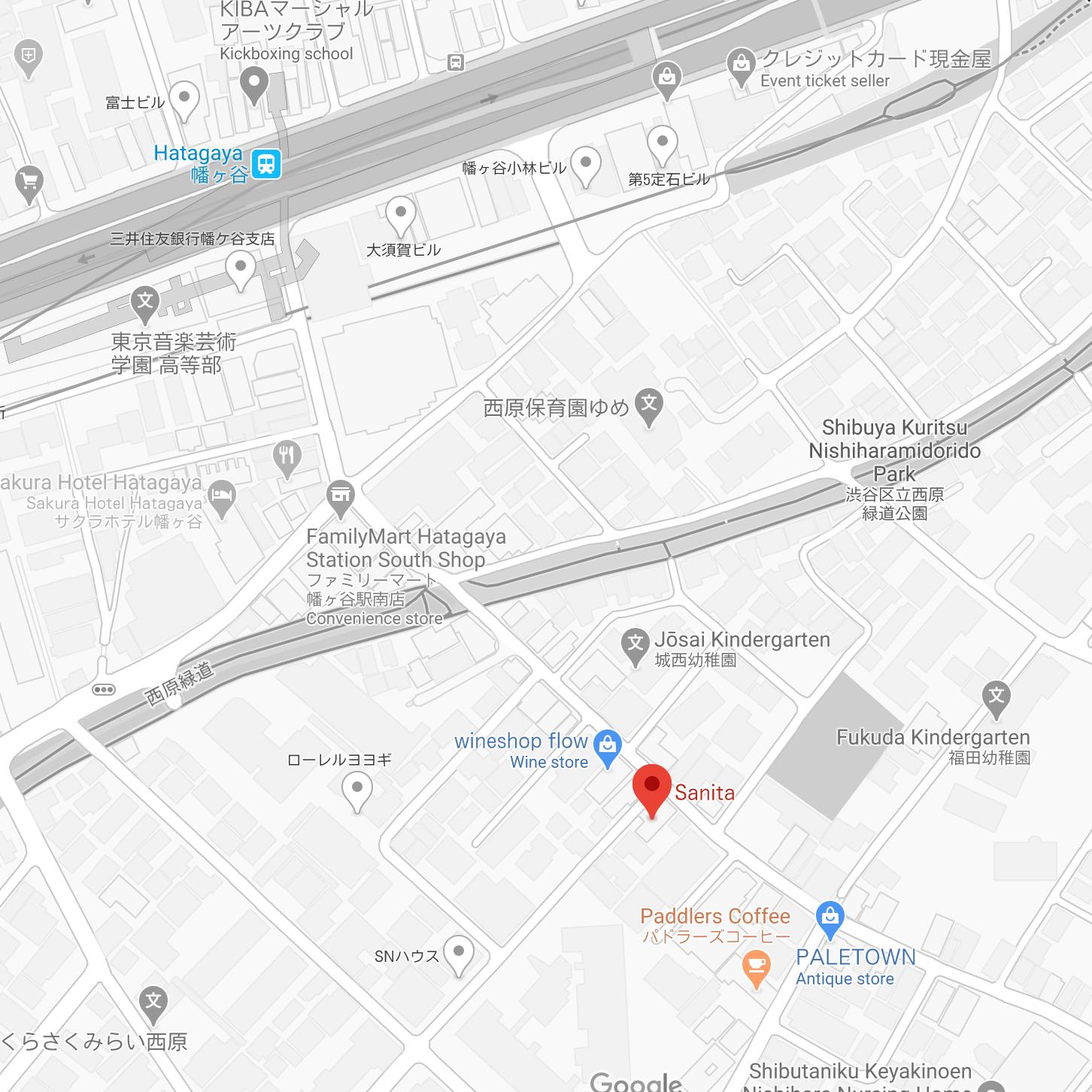 Map of Nishihara shotengai in Hatagaya, Yoyogi-Uehara are in Shibuya, Tokyo.