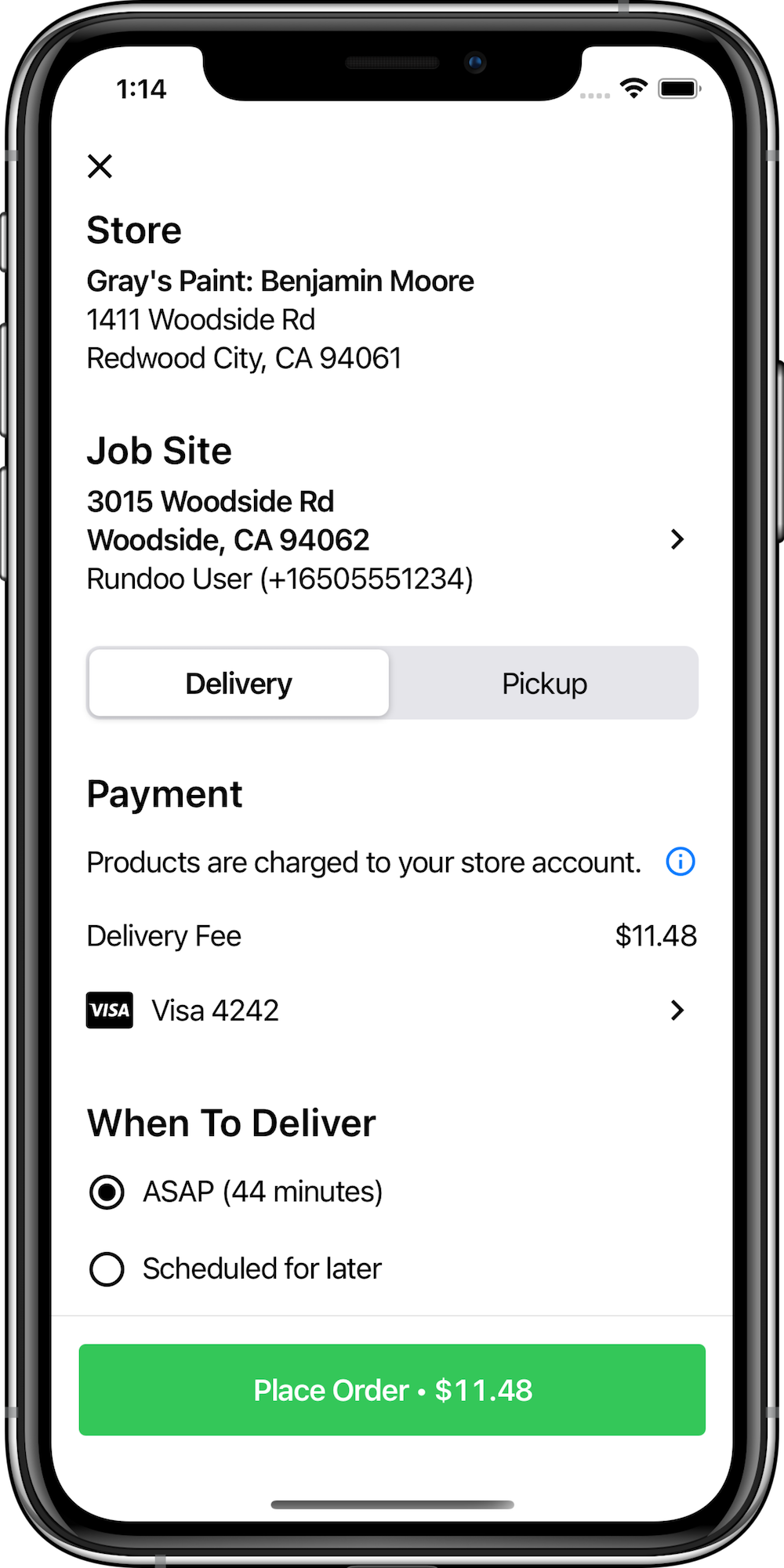 App screen showing form for reviewing and submitting order, including a choice for delivery or pickup