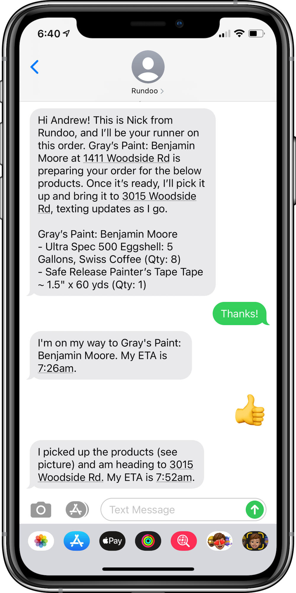 Phone screen showing text message conversation with delivery updates