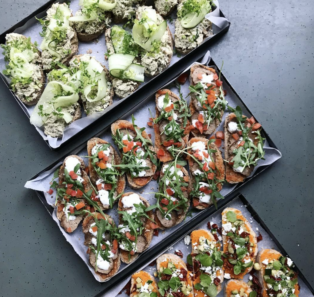 midori catering, three different types of sandwiches
