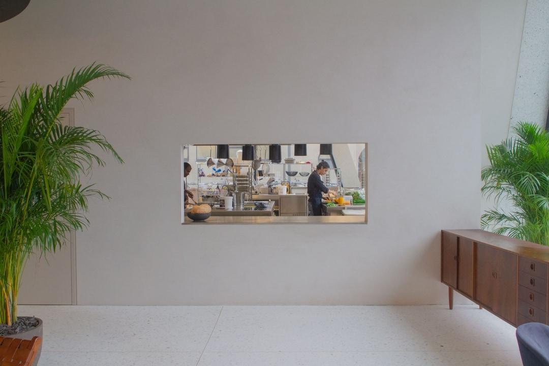 View into kitchen, Midori hub DPG media, antwerp, lunch location