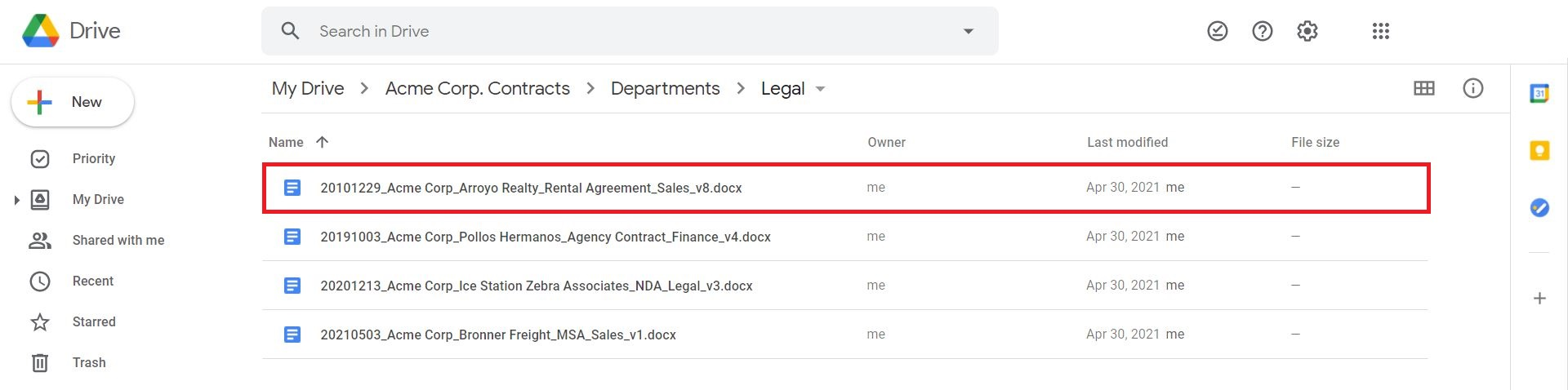 contract management with Google Drive