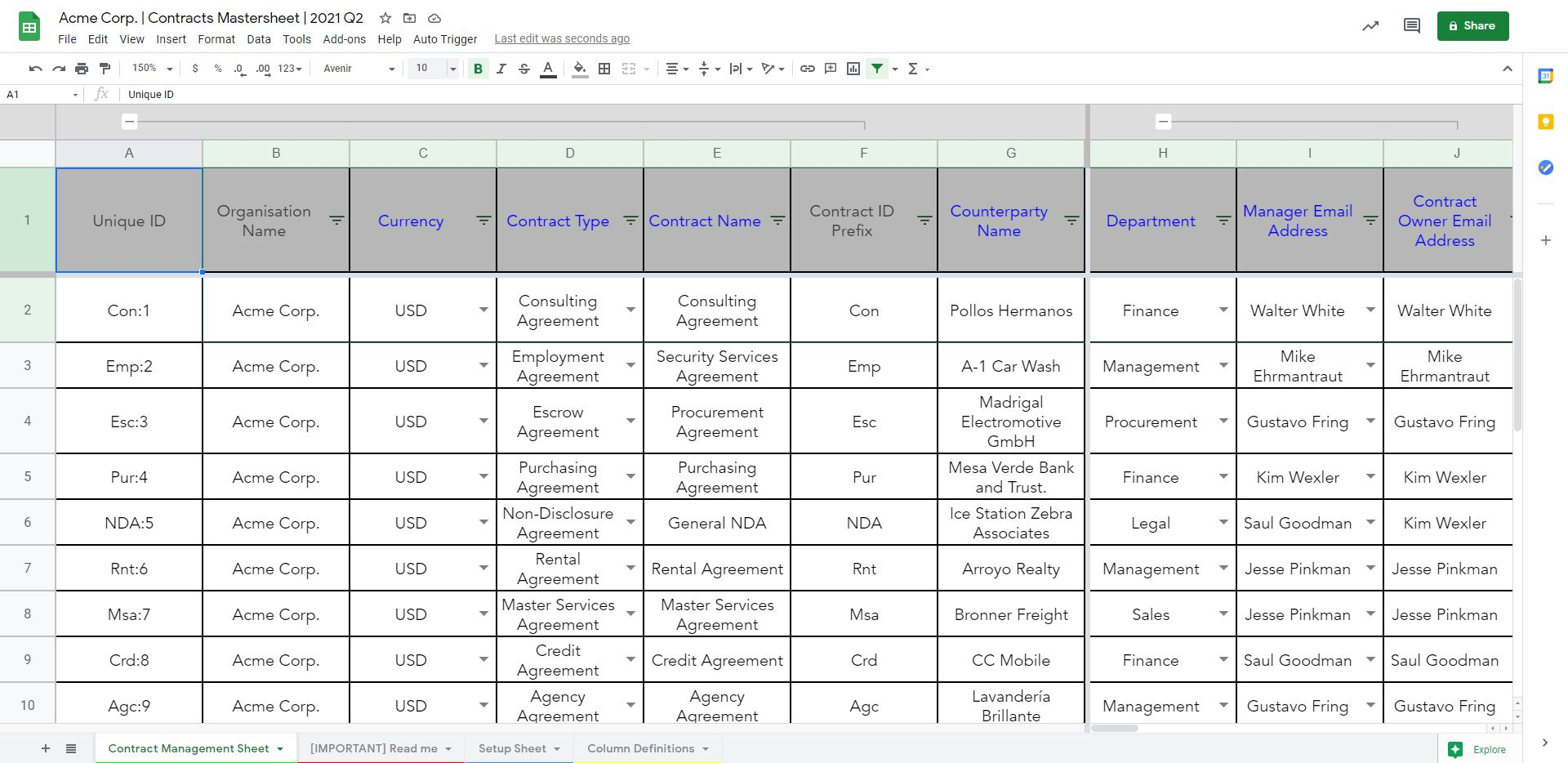 contract management with Google Sheets