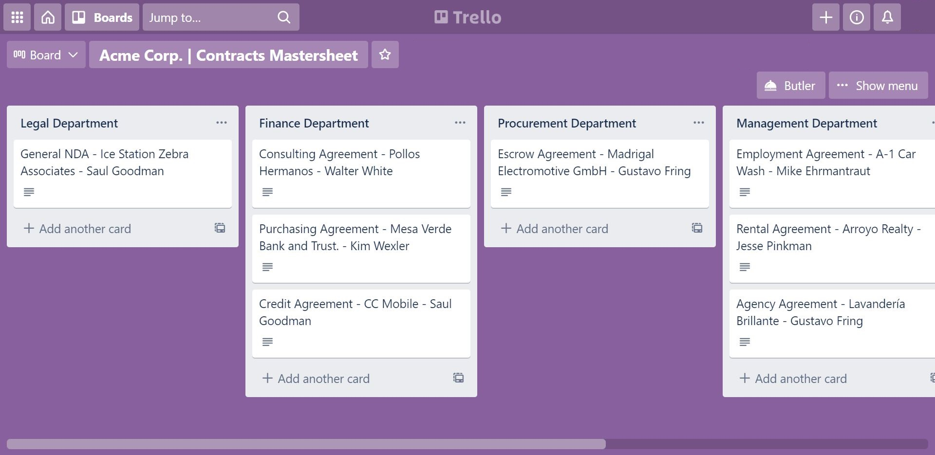 contract management with Trello board