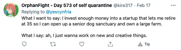 Career discussion tweet