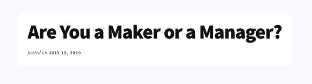 Maker vs manager