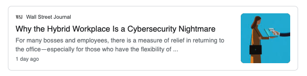 Google news on cyber security