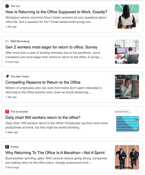 Google news results