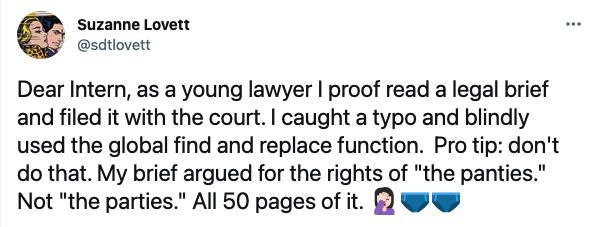 Lawyer intern tweet