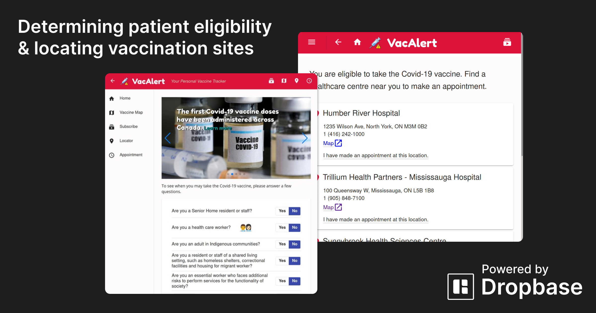 Determining patient eligibility and locating vaccination sites with VacAlert and Dropbase