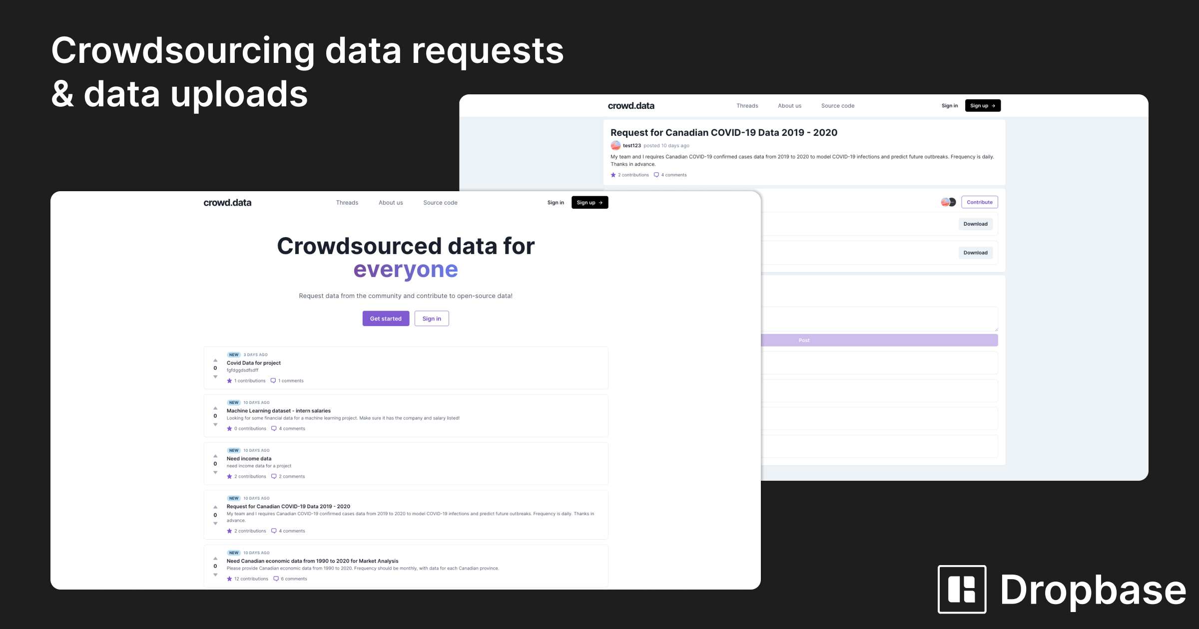 crowdsourcing data requests and data uploads with crowd.data and Dropbase
