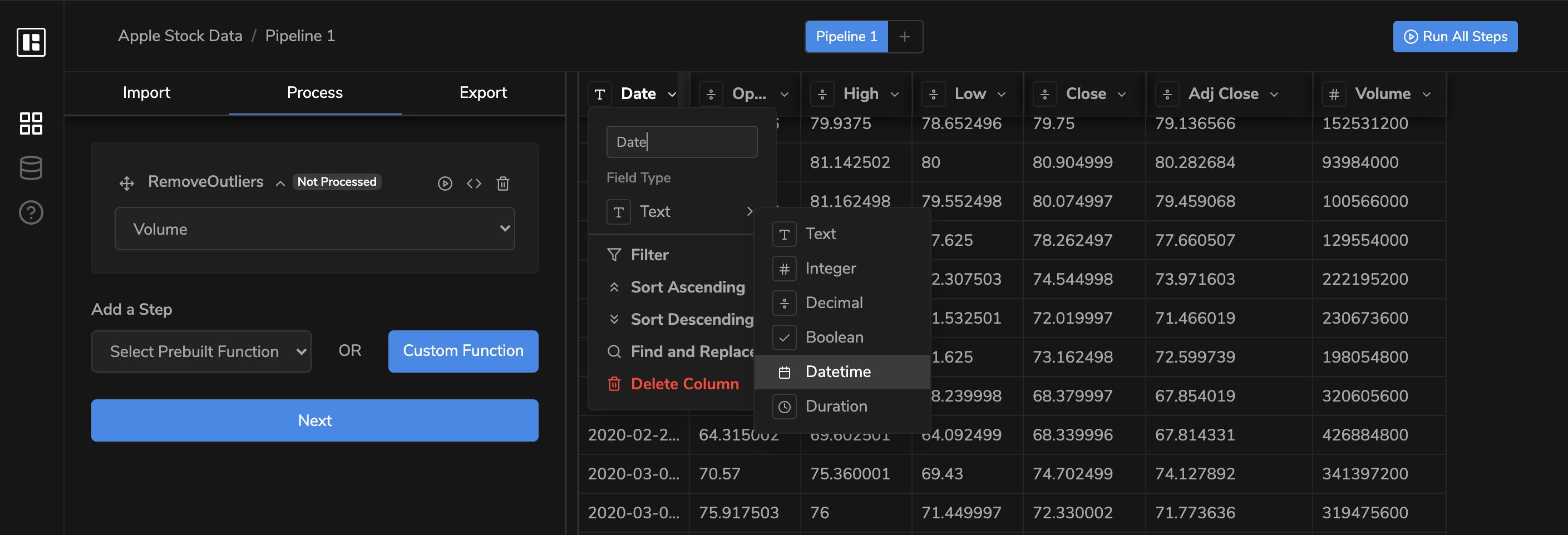 Formatting data columns with dropbase