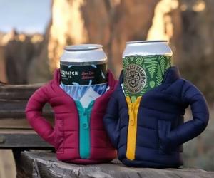 Puffer Jacket Beer Koozie