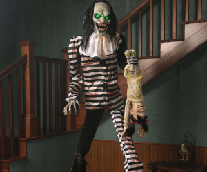 7ft Animated Evil Clown Prop