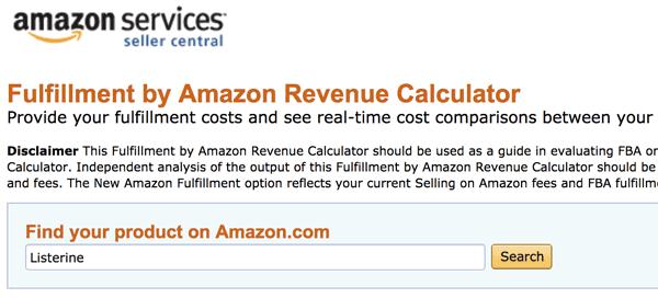 Pick Product in FBA calculator