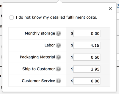 FBA fulfillment costs