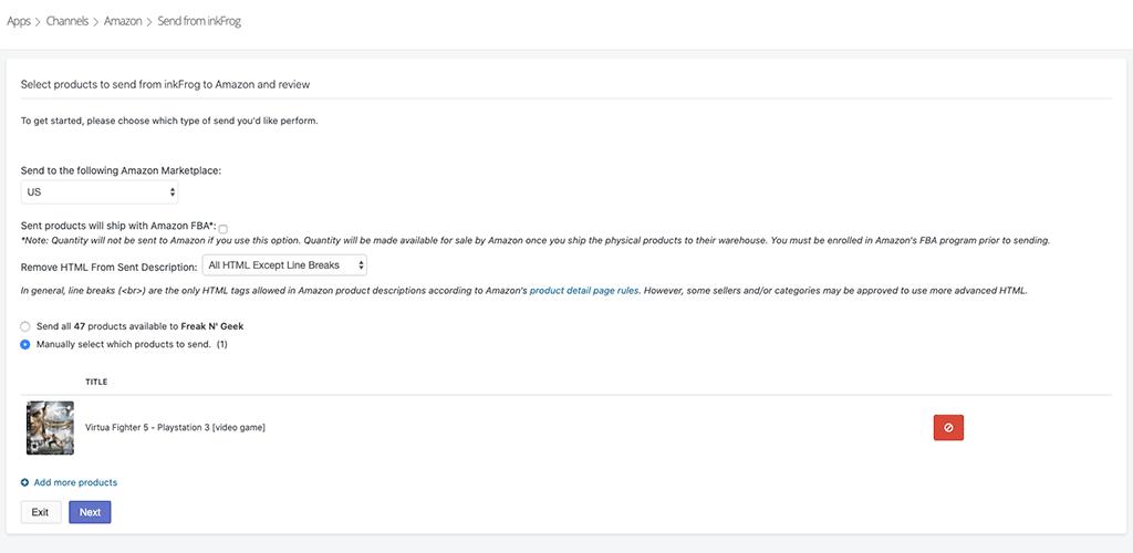 InkFrog: eBay to Amazon does not work