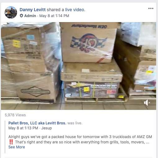 Liquidation pallet videos on Facebook Marketplace.
